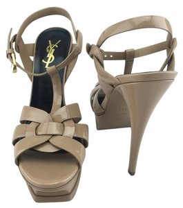 Saint Laurent Tribute T-strap Platform Patent Ysl Nude Sandals