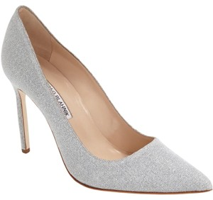 Manolo Blahnik Bb Pointy Toe Glitter Wedding Silver Pumps