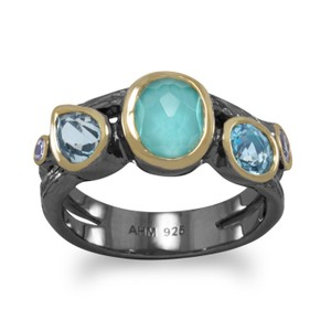 HOT ITEM NEW Bi Tone Plated Multistone Ring
