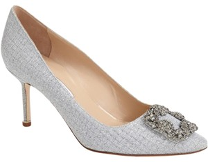 Manolo Blahnik Hangisi Jeweled Pointy Toe Low Heel Bride Silver Pumps