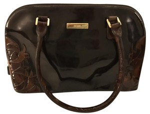 Bonia Brown and Burgundy Patin Leather Clutch
