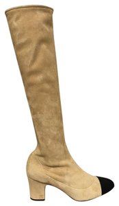 Chanel Suede High Stretchy Heel beige Boots