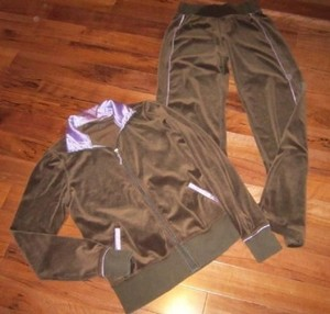 Lululemon LULULEMON TWO PIECE BROWN VELOUR & SATIN SET