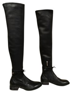Dior Stellar Studded Thigh High Leather black Boots