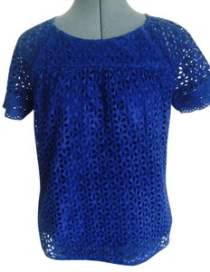 J.Crew Perforated Eyelet Top BLUE