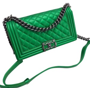 Chanel Medium Le Boy Green Calfskin Shoulder Bag