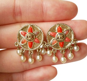 Chanel Tribal Round Red stones CC Pearl Dangle Clip on Earrings