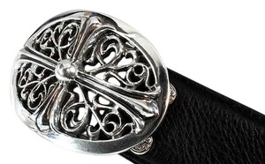 Chrome Hearts LARGE FLORAL CROSS OVAL BELT BUCKLE