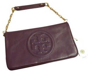 Tory Burch Wild plum purple logo Clutch