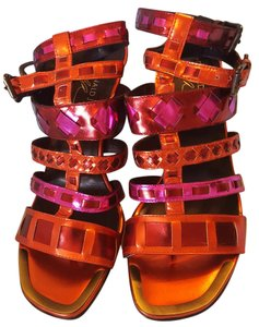 Donald J. Pliner Strappy Heels Metallic tomato Sandals