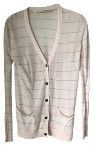 Twelfth St. by Cynthia Vincent Striped Comfortable Cardigan Button Down Shirt White and Light Blue