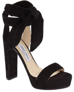 Jimmy Choo Suede Wraparound Ankle Tie Platform Black Sandals