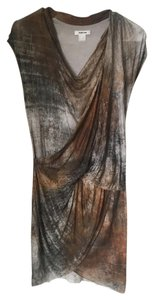 Helmut Lang short dress Grey and multicolor printed Cowl Neck Earth Tones on Tradesy