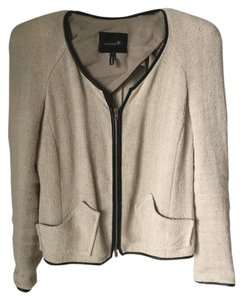 Isabel Marant Linen Textured Structured Padded Creme and Black Leather accented Blazer