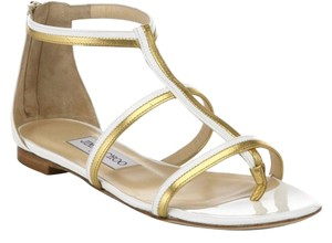 Jimmy Choo Gold Leather Flats Thong Summer white Sandals