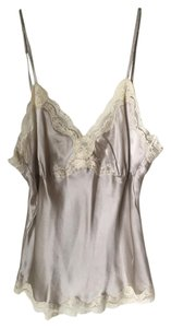 Gold Hawk Silk Date Night Night Out Top Silvery Grey and Off white Lace