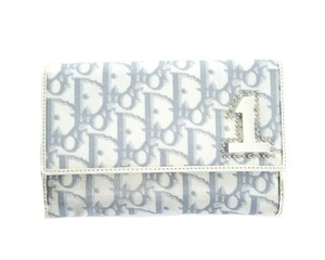Dior Dior Blue and White Trifold Trotter Wallet