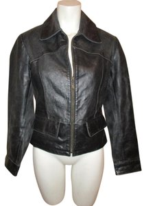 Guess Distressed Leather black Leather Jacket