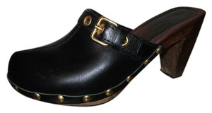 The Original Car Shoe Leather Studded Sheepskin black Mules