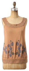 Anthropologie Sleeveless Beaded Tan Floral Top