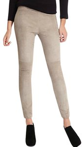Marciano Leather Suede Comfy Knit Ponte Skinny Pants Beige