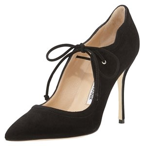 Manolo Blahnik Suede Tie Up black Pumps