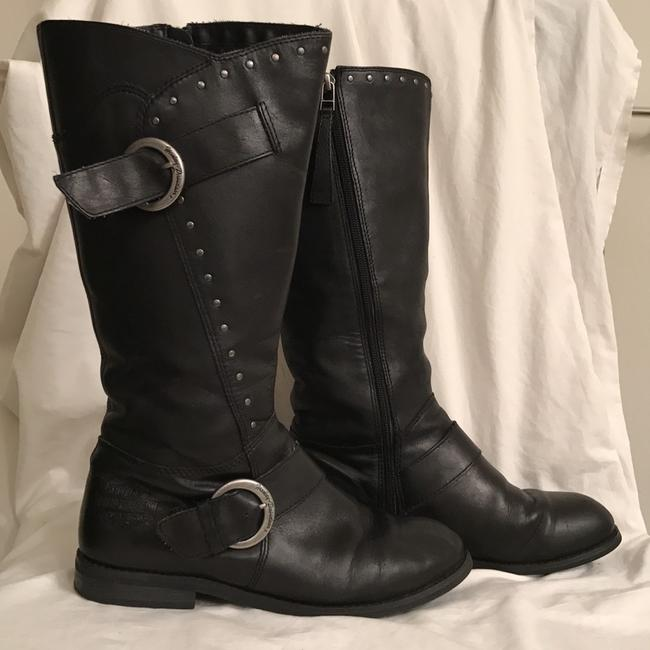 Item - Black Silver W Leather W/Pewter Tone Studs Buckles Boots/Booties Size US 8 Regular (M, B)
