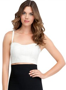 bebe Leather Crop Bandage Top Ivory