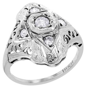 Other 0.30 Carat Vintage Natural Diamond Floral Ring In Solid 18k White Gold