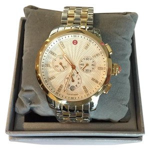 Michele Michele Two-toned Uptown Diamond Dial Chronograph Watch