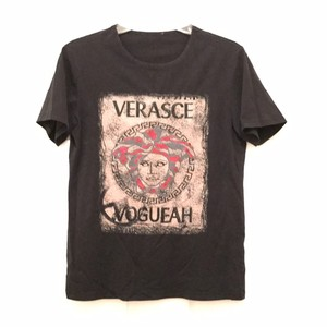 Versace Vintage 100% Cotton Signature Medusa Designer T Shirt Black Beige Red