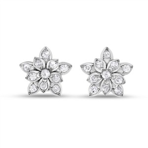 Other 2.20 CT Vintage Natural Diamond Gorgeous Flower Earrings Solid 14k