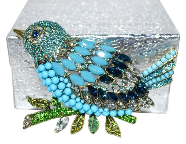 """Item - Clear Turquoise- Light Turquoise- Montana- Olivine- Fern Green- and Palace Green Opal- """"Marquise Madness"""" Swarovski Crystal Bird Brooch Pin"""