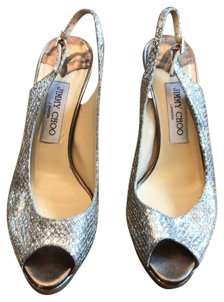 Jimmy Silver Choo Silver Jimmy Open Toe Heels Platforms d7dee7