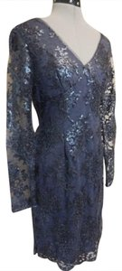 Adrianna Papell Sequin Longsleeve Embellished Sheath Dress