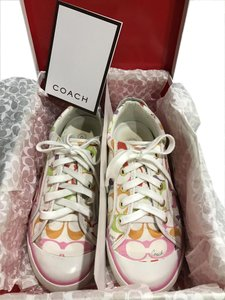 Coach Logo Leather Flat Barrett White Multi Athletic
