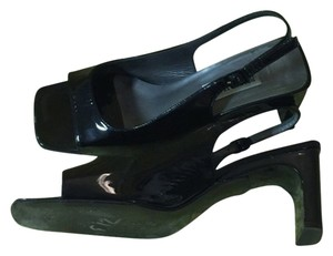 Bruno Magli Elegant Patent Black Leather 5 1/2 Sandals