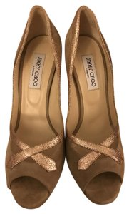 Jimmy Choo Glitter Nude Suede Pumps