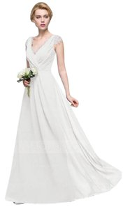 JJsHouse‎ Ivory Flowy A-line With Lace Cap Sleeves Ruched Bodice And Keyhole Back Dress