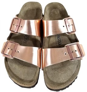 Birkenstock Suede-covered Soft Footbed Cork And Latex Buckle Closure Metallic Leather cooper metallic Sandals