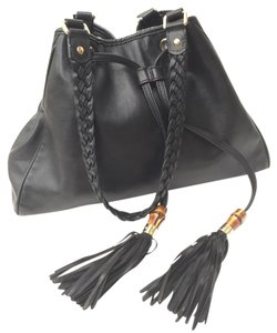 Gucci Bamboo Braided Leather Drawstring Silver Hardware Satchel in Black