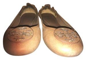 Tory Burch Ballerina Leather Camel Flats
