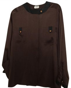 Chanel Button Down Shirt brown &a black trim on the Neck and the sleeves