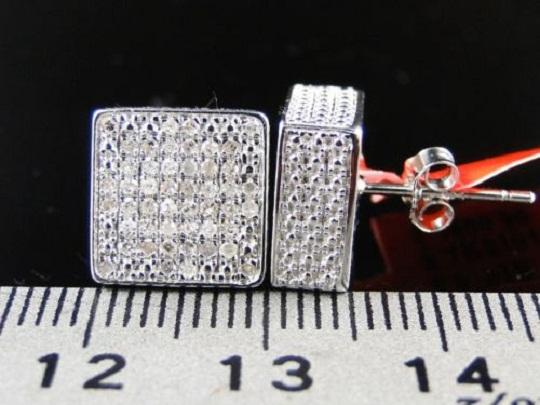 Other ICE CUBE BLOCK MENS DIAMOND STUD EARRINGS 10MM 0.75CT
