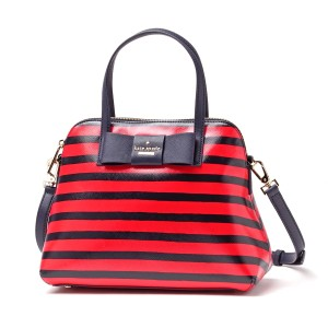 Kate Spade Julia Street Maise Leather Satchel in NAVY/CHERRY
