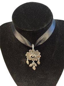 Other Antique Silvertone Adjustable Choker/Necklace on Satin Ribbon