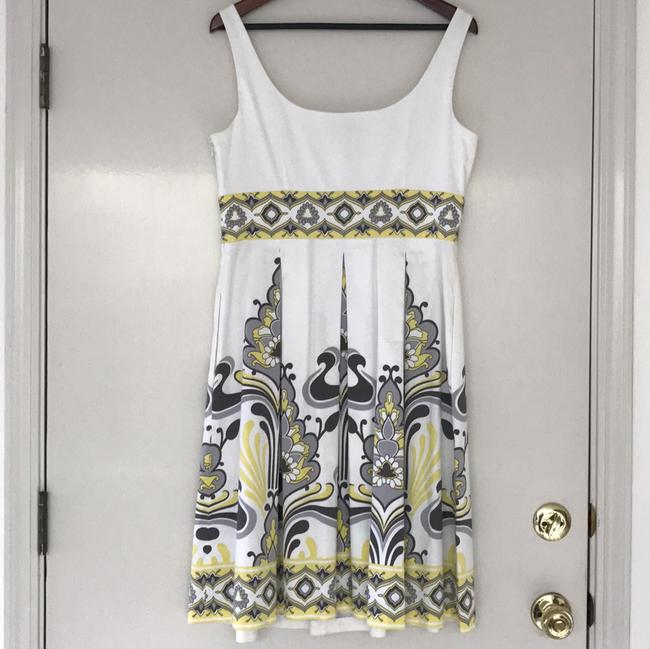 Maggy London short dress White with gray and butter yellow on Tradesy