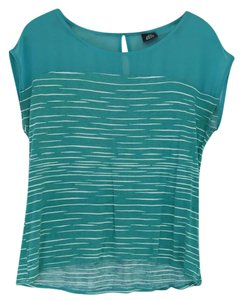Bobeau Top Light teal green with white stripes