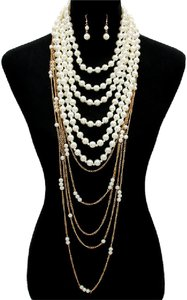 Other Multilayer Pearl Gold Chain Necklace and Earrings