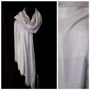 Other B37 Silver Metallic Lurex Stripe Raw Edge Long Shawl Scarf Wrap